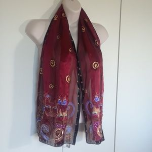 Laurel Burch maroon cat silk scarf